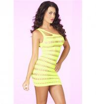 Pink Lipstick Lingerie SIZZLE STRIPES SEAMLESS DRESS Yellow