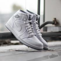 Air Jordan 1 Mid White/ White- Wolf Grey
