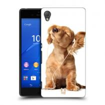 Pouzdro HeadCase Young Puppy Listening To Music Funny Animals pro Sony Xperia Z4, štěně se