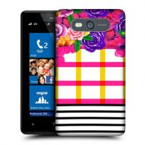 Pouzdro HeadCase Stripes Checkered Floral Pattern Mix pro Nokia Lumia 820