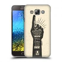 Pouzdro Head Case Biblical Vintage Badges pro Samsung Galaxy E7