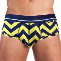 Mosmann Australia Brief Luxe Yellow/Navy Chevron Print