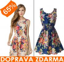 Floral dress s kytkami ve stylu retro