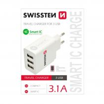 SWISSTEN SÍŤOVÝ ADAPTÉR SMART IC 3x USB 3,1A POWER