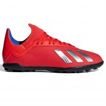 Adidas adidas X Tango 18.3 Childrens Astro Turf Football Trainers, Red/Silver/Blue, 34