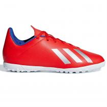 Adidas adidas X Tango 18.4 Childrens Astro Turf Trainers, Red/Silver/Blue, 31.5