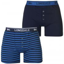Lonsdale Lonsdale 2 Pack Boxers Mens, Navy/Stripe, XL