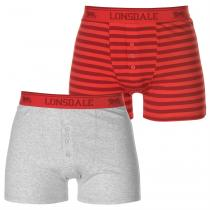 Lonsdale Lonsdale 2 Pack Boxers Mens, Grey/Red Strp, M
