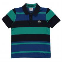 Lonsdale Lonsdale Stripe Polo Shirt Junior Boys, Navy/Blue/White, 164