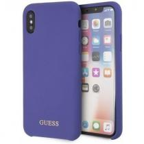 Guess Kryt na mobil Guess Silicone Cover pro Apple iPhone X/XS fialový (GUHCPXLSGLUV)