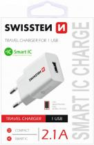 Swissten SWISSTEN travel charger smart IC with 1x USB 2,1A Power, bílá 22013308