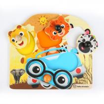 baby einstein - Hračka dřevěná puzzle Friendy Safari Faces HAPE 12m +