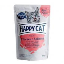 Happy Cat Meat in Sauce Adult Kuře a losos 85g