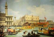 (1697-1768) Canaletto - Obrazová reprodukce The Betrothal of the Venetian Doge to the Adriatic Sea 40x26.7 cm