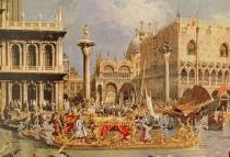 (1697-1768) Canaletto - Obrazová reprodukce Return of the Bucintoro on Ascension Day 40x26.7 cm