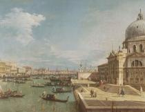 (1697-1768) Canaletto - Obrazová reprodukce The Entrance to the Grand Canal and the church of Santa Maria