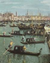 (1697-1768) Canaletto - Obrazová reprodukce Gondoliers near the Entrance to the Grand Canal and the church of
