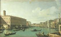 (1697-1768) Canaletto - Obrazová reprodukce The Grand Canal from the Rialto Bridge 40x24.3 cm