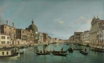 (1697-1768) Canaletto - Obrazová reprodukce The Grand Canal in Venice with San Simeone Piccolo and the Scalzi