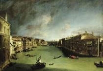 (1697-1768) Canaletto - Obrazová reprodukce The Grand Canal, View of the Palazzo Balbi towards the Rialto Bridge