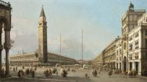 (1697-1768) Canaletto - Obrazová reprodukce Piazza San Marco Looking South and West, 1763 40x22.5 cm