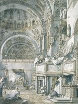 (1697-1768) Canaletto - Obrazová reprodukce The Choir Singing in St. Mark's Basilica, Venice 30x40 cm