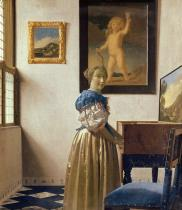 Jan (1632-75) Vermeer - Obrazová reprodukce A Young Woman Standing at a Virginal, c.1670-72 34.7x40 cm
