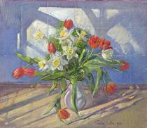 Timothy Easton - Obrazová reprodukce Spring Flowers with Window Reflections, 1994 40x34.6 cm